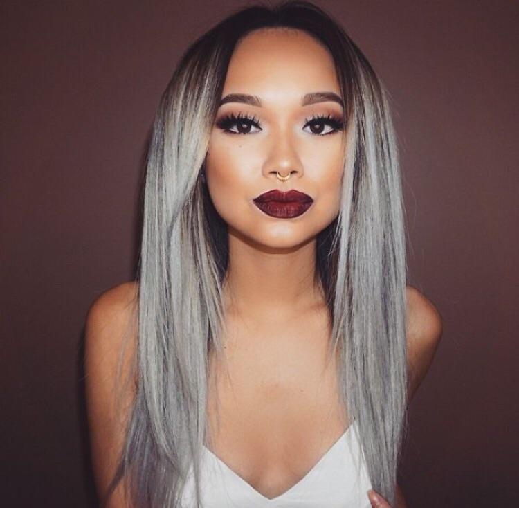 silvergrått hår kort